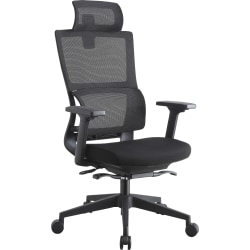 Lorell® High-Back Mesh Chair With Headrest, Black
