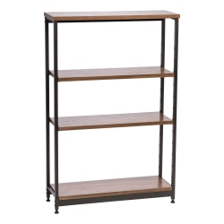 "IRIS 48""H 4-Tier Tall And Wide Shelf, Brown/Black"