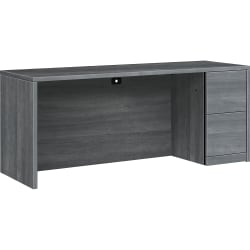 """HON 10500 Series Right Credenza - 72""""W - 72"""" x 24"""" x 29.5"""" - 2 x File Drawer(s) - Single Pedestal on Right Side - Flat Edge - Material: Wood, Laminate - Finish: Sterling Ash Laminate"""