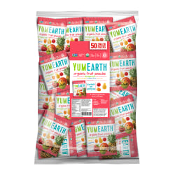 Yummy Earth Organic Tropical Fruit Snacks, 1.28 Oz, Pack Of 50 Bags