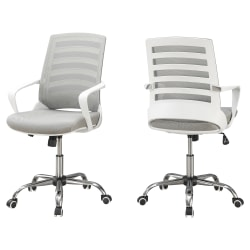 Monarch Specialties Mid-Back Office Chair, Gray/White