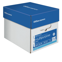 "Office Depot® Brand Multi-Use Paper, Letter Size (8 1/2"" x 11""), 96 (U.S.) Brightness, 20 Lb, Ream Of 500 Sheets, White, Case Of 5 Reams"