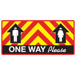 """Alliance Adhesive Social Distance Labels, 8"""" x 17"""", One Way Please, Set Of 25 Labels"""