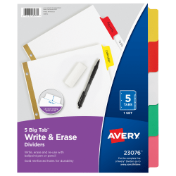 Avery® Big Tab™ Write-On 20% Recycled Tab Dividers With Erasable Laminated Tabs, 5-Tab, Multicolor