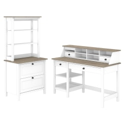 """Bush Furniture Mayfield 54""""W Computer Desk With Shelves, Desktop Organizer, Lateral File Cabinet And Hutch, Pure White/Shiplap Gray, Standard Delivery"""