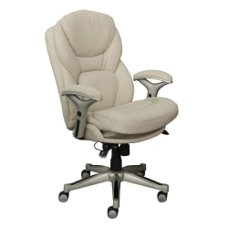 Serta® Works Bonded Leather Mid-Back Office Chair With Back In Motion Technology, Ivory/Silver