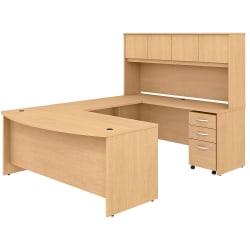 Bush Business Furniture Studio C U-Shaped Desk With Hutch And Mobile File Cabinet, Natural Maple, Standard Delivery