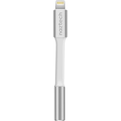Naztech 3.5mm Audio Adapter with Lightning Connector - First End: 1 x Lightning Male Proprietary Connector - Second End: 1 x Mini-phone Female Stereo Audio - MFI - White
