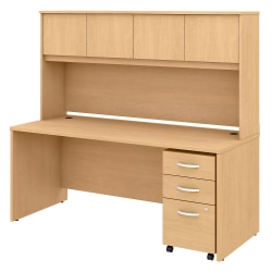 """Bush Business Furniture Studio C Office Desk With Hutch And Mobile File Cabinet, 72""""W, Natural Maple, Standard Delivery"""
