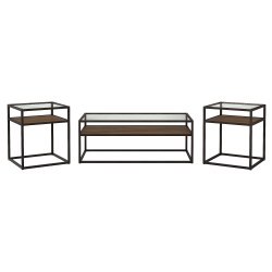 Bush Furniture Anthropology Coffee Table with Set of 2 End Tables, Rustic Brown Embossed, Standard Delivery