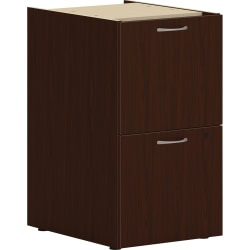 "HON® Mod 20""D Vertical 2-Drawer Support File Pedestal, Mahogany"