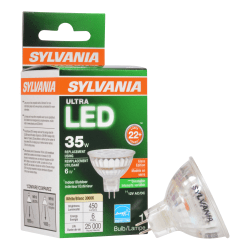 Sylvania LEDvance MR16 Dimmable 450 Lumens LED Light Bulbs, 6 Watt, 3000 Kelvin/Warm White, Case Of 6 Bulbs
