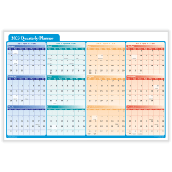 "ComplyRight™ Calendar Planner, 36"" x 24"", Quarterly, Black, 2021"
