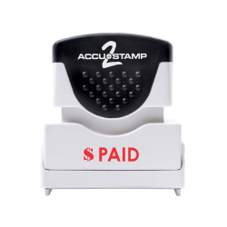 "ACCU-STAMP2® Paid Stamp, Shutter Pre-Inked One-Color PAID Stamp, 1/2"" x 1-5/8"" Impression, Red Ink"
