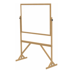 """Ghent 2-Sided Dry-Erase Whiteboard, 72 1/8"""" x 53 1/4"""", Brown Wood Frame"""