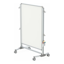 "Ghent Nexus Jr. Partition Mobile Porcelain Magnetic Double-Sided Whiteboard, 57 3/8"" x 40 3/8"", Silver Aluminum Frame"
