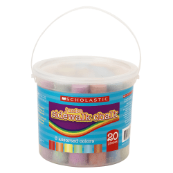 Scholastic® Jumbo Sidewalk Chalk, Assorted Colors, Tub Of 20 Sticks