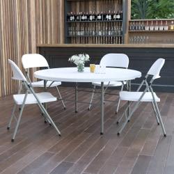 "Flash Furniture Round Bi-Fold Plastic Banquet And Event Folding Table, 29-1/2""H x 60-1/2""W x 60-1/2""D, Granite White"