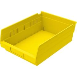 """Akro-Mils Grease/Oil Resistant Shelf Bin, 4"""" x 8 3/8"""" x 11 5/8"""", Yellow"""