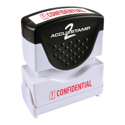 """ACCU-STAMP2® Confidential Stamp, Shutter Pre-Inked One-Color CONFIDENTIAL Stamp, 1/2"""" x 1-5/8"""" Impression, Blue Ink"""