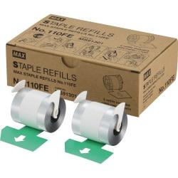 "MAX 110Fe Staple Refill - 4000 Per Cartridge - 9/16"" Leg - Holds 100 Sheet(s) - for Paper - Silver8000 / Box"