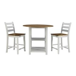 Powell Soren 3-Piece Counter Set, White/Oak