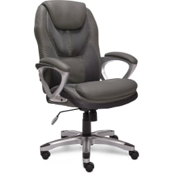 Serta® Works Bonded Leather/Mesh High-Back Office Chair, Light Gray/Silver