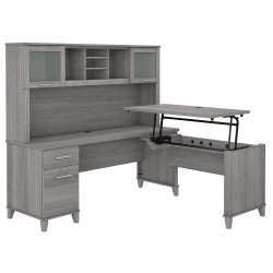 "Bush Furniture Somerset 72""W 3-Position Sit-To-Stand L-Shaped Desk With Hutch, Platinum Gray, Standard Delivery"