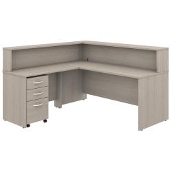"Bush Business Furniture Studio C 72""W x 30""D L-Shaped Reception Desk With Shelf And Mobile File Cabinet, Sand Oak, Premium Installation"