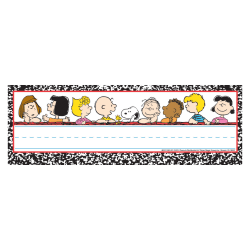 "Eureka Peanuts® Classic Characters Self-Adhesive Name Plates, 9 5/8"" x 3 1/4"", Multicolor, 36 Name Plates Per Pack, Bundle Of 6 Packs"