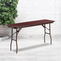 "Flash Furniture Folding Training Table, 30""H x 18""W x 60""D, Mahogany"