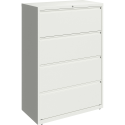 """Lorell® 36""""W Lateral 4-Drawer File Cabinet, Metal, White"""