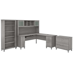 "Bush Furniture Somerset 72""W L-Shaped Desk With Hutch, Lateral File Cabinet And Bookcase, Platinum Gray, Standard Delivery"