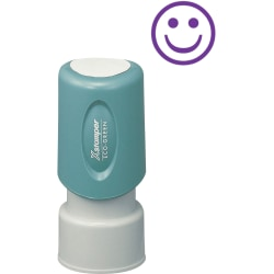 "Xstamper Pre-Inked Specialty Smiley Face Stamp - Message/Design Stamp - ""GOOD"" - 0.63"" Impression Diameter - 100000 Impression(s) - Blue - Recycled - 1 Each"