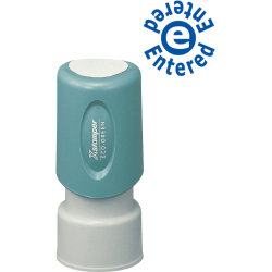 "Xstamper Blue Ink ENTERED Title Stamp - Message Stamp - ""ENTERED"" - 0.63"" Impression Diameter - 100000 Impression(s) - Blue - Plastic Cap - Recycled - 1 Each"