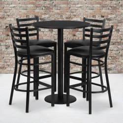 """Flash Furniture Round Table And 4 Ladder-Back Barstools, 42"""" x 30"""", Black"""