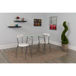 """Flash Furniture Space-Saver Glass Top Bistro Set With 2 Chairs, 29-1/2""""H x 19-3/4""""W x 35-1/2""""D, White"""