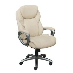 Serta® Works My Fit Bonded Leather High-Back Office Chair With Active Lumbar Support, Inspired Ivory/Silver