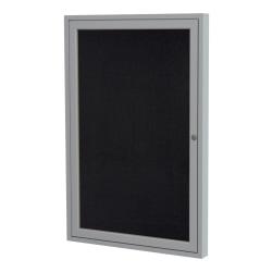 "GHENT 1-Door Enclosed Recycled Rubber Bulletin Board, 36"" x 24"", Black Satin Aluminum Frame"