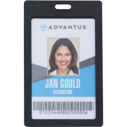 "Advantus Vertical Rigid ID Badge Holder - Support 2"" x 3.25"" Media - Vertical - Plastic - 6 / Pack - Black"