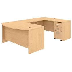 "Bush Business Furniture Studio C U-Shaped Desk With Mobile File Cabinet, 60""W x 36""D, Natural Maple, Premium Installation"