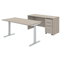 "Bush Business Furniture Studio C 60""W x 30""D Height-Adjustable Standing Desk, Credenza And One Mobile File Cabinet, Sand Oak, Premium Installation"