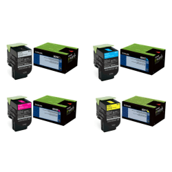 Lexmark Black/Cyan/Magenta/Yellow Toner Cartridges, Pack of 4 Cartridges