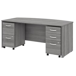 """Bush Business Furniture Studio C Bow Front Desk With Mobile File Cabinets, 72""""W, Platinum Gray, Standard Delivery"""