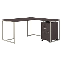 """kathy ireland® Office by Bush Business Furniture Method 60""""W L-Shaped Desk With 30""""W Return And Mobile File Cabinet, Storm Gray, Premium Installation"""