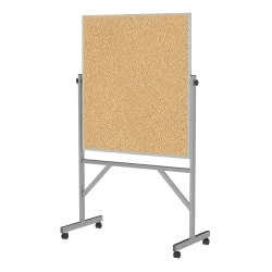 "Ghent Reversible Cork Bulletin Board, 78 1/4"" x 41 1/4"", Aluminum Frame With Silver Finish"