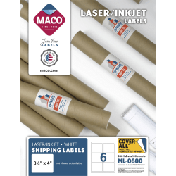 "MACO® White Laser/Ink Jet Shipping Labels, ML-0600, 3 21/64""W x 4""L, Rectangle, White, 6 Per Sheet, Box Of 600"