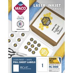"MACO® White Laser/Ink Jet Full Sheet Labels, MML-0100, 8 1/2""W x 11""L, Rectangle, White, Box Of 100"