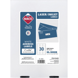 "MACO® White Laser/Ink Jet Address Labels, ML-3000B, Permanent Adhesive, 1""W x 2 5/8""L, Rectangle, White - 30 Per Sheet, Box Of 7,500"
