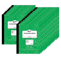 """Pacon® Composition Books, 9-3/4"""" x 7-3/4"""", Primary Ruled, Green Marble, 24 Sheets, Pack Of 24 Books"""